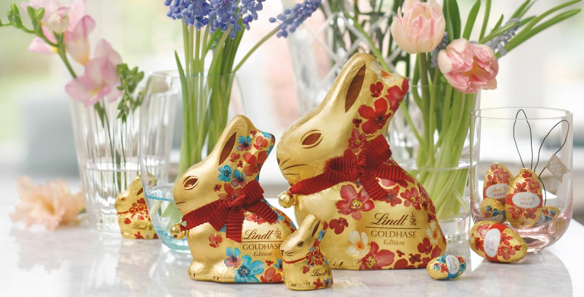 Zu Ostern anderen eine Freude machen!<br> Mit dem Goldhasen von Lindt!